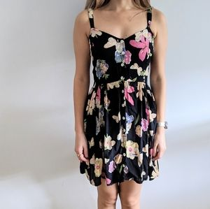 1990's Butterfly Floral Baby Doll Dress w Back Tie